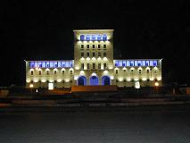 Tirana University at night
